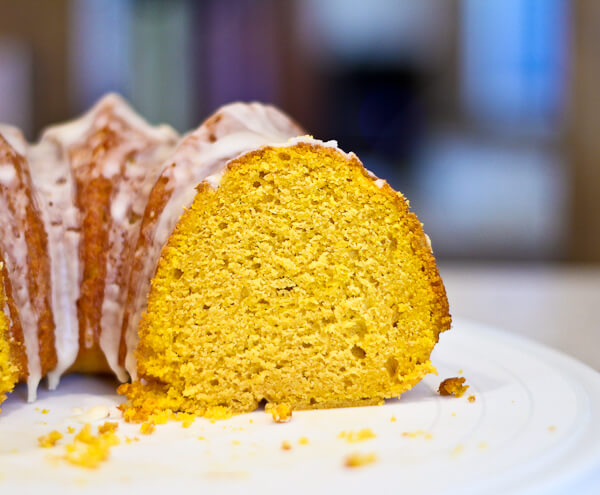Sliced Glazed Orange Pumpkin Bundt Cake