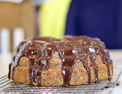 Chocolate Ganache Glazed Banana Bundt Cake