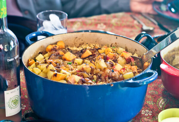 Dutch oven filled with vegetarian biryani