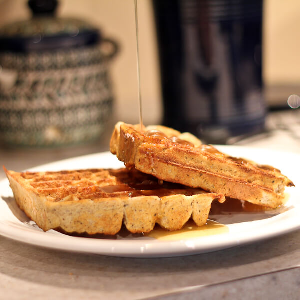 Hot Buttered Maple Syrup on Buckwheat and Yogurt Waffles