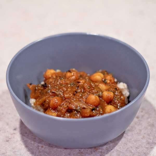 Child's portion of Indian curried pumpkin and chickpeas