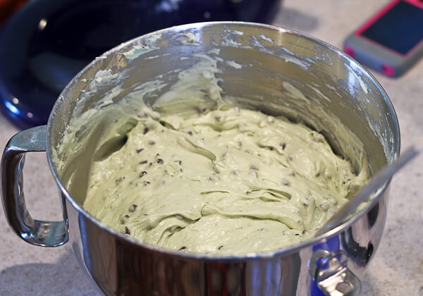 batter for mint chocolate chip bundt cake with creme de menthe