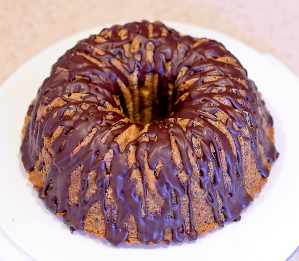 Chocolate Ganache glazed Mint Chocolate Chip Bundt Cake with Creme de Menthe