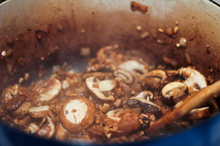 browning mushrooms and onions for chicken soup