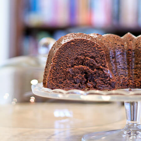sliced Double Chocolate Swirled Bundt Cake