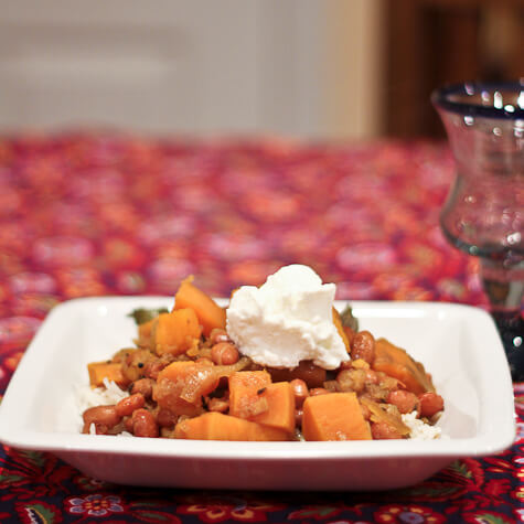 Curried Borlotti Beans with Sweet Potatoes