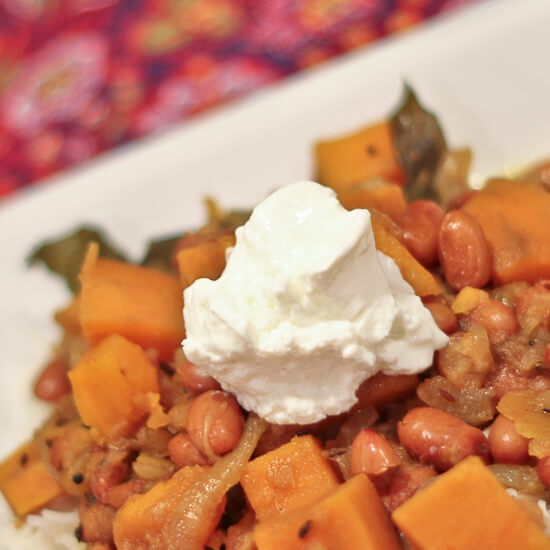 Curried Borlotti Beans and Sweet Potatoes