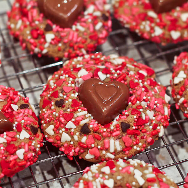 Vanilla Biscoff Valentine's Day Sprinkles cookies