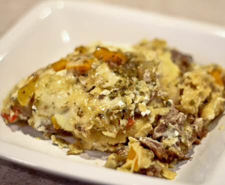 Tortilla Casserole with Braised Beef in Beer and Salsa Verde