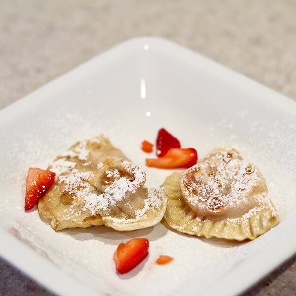 Pierogi with Strawberries Macerated in Vodka