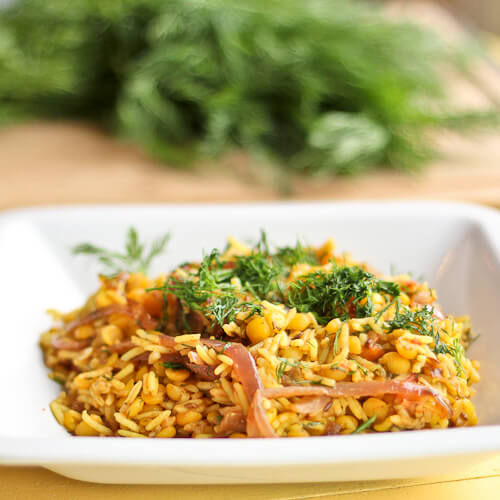 Split Pea Khichari with Dill, Tomatoes and Onions