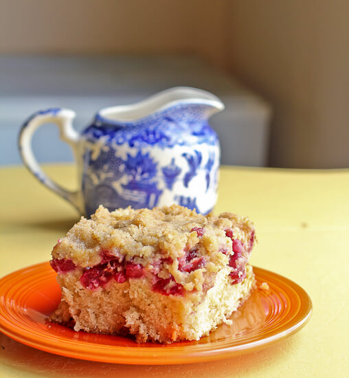 Tart Cherry Crumb Cake with White Chocolate Chunks