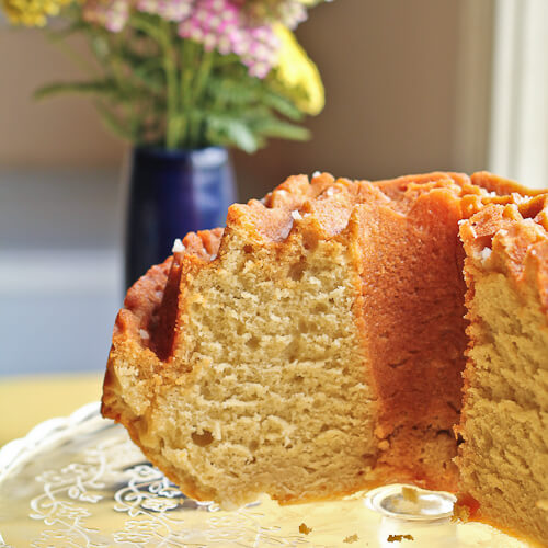 Tuaca Spiked Bundt Cake with Salted Butterscotch Glaze