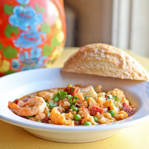 Cauliflower and Peas with Chorizo, Shrimp and Smoked Paprika