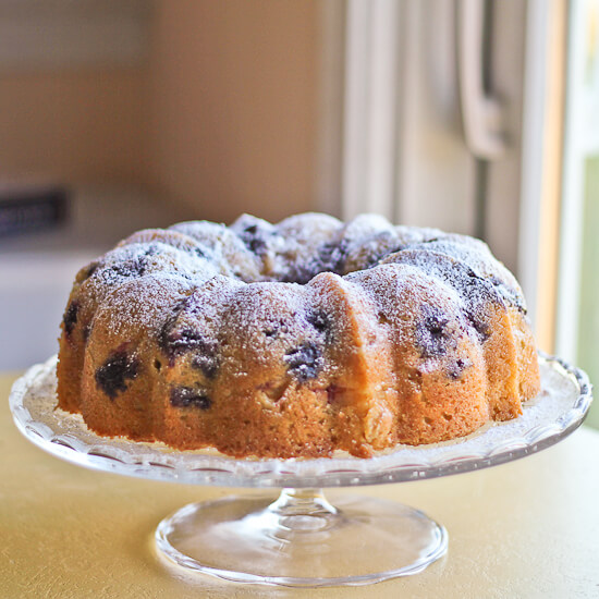 Peach and Blueberry Bundt Cake with Sparkling Wine